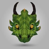 Geometrico drago verde vettore