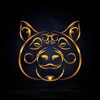 simbolo di maiale d'oro vettore