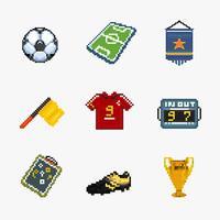 icona del pixel di calcio vettore