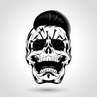 cranio punk con le unghie vettore