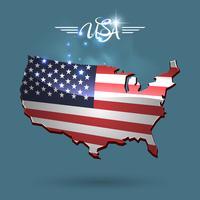Mappa di bandiera degli Stati Uniti vettore