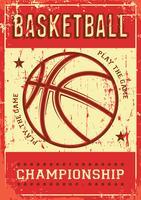 Contrassegno di retro manifesto di arte di schiocco di sport di gioco del calcio di pallacanestro vettore