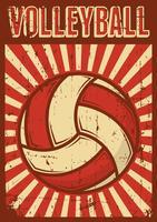 Volley Ball Volleyball Sport Retro Pop Art Poster Segnaletica vettore