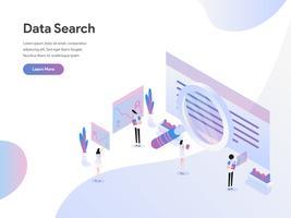 Modello di pagina di destinazione del concetto di illustrazione isometrica di ricerca dei dati. Concetto di design piatto di progettazione di pagine Web per sito Web e sito Web mobile. Illustrazione di vettore