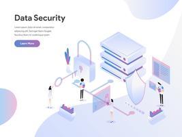 Modello di pagina di destinazione del concetto di illustrazione isometrica di sicurezza dei dati. Concetto di design piatto di progettazione di pagine Web per sito Web e sito Web mobile. Illustrazione di vettore