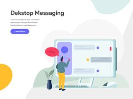 Concetto dell'illustrazione di desktop messaging. Concetto di design piatto moderno di progettazione di pagine web per sito Web e sito Web mobile. Illustrazione di vettore 10 EPS