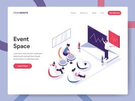 Modello della pagina di atterraggio del concetto dell'illustrazione dello spazio di evento. Concetto di design piatto isometrica della progettazione di pagine Web per sito Web e sito Web mobile. Illustrazione di vettore ENV 10