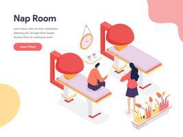 Concetto dell'illustrazione della stanza del pisolino. Concetto di design isometrico di progettazione di pagine Web per sito Web e sito Web mobile. Illustrazione di vettore