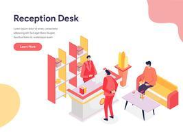Concetto dell'illustrazione della reception. Concetto di design isometrico di progettazione di pagine Web per sito Web e sito Web mobile. Illustrazione di vettore
