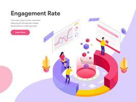 Modello della pagina di atterraggio di Engagement Rate Isometric Illustration Concept. Concetto di design piatto isometrica della progettazione di pagine Web per sito Web e sito Web mobile. Illustrazione di vettore