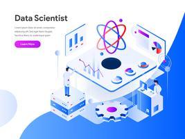 Concetto dell'illustrazione isometrica dello scienziato di dati. Concetto di design piatto moderno di progettazione di pagine web per sito Web e sito Web mobile. Illustrazione di vettore 10 EPS