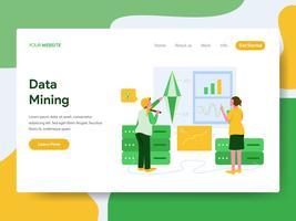 Modello della pagina di atterraggio del concetto dell'illustrazione di data mining. Moderno concetto di design piatto di progettazione di pagine Web per sito Web e sito Web mobile. Illustrazione di vettore