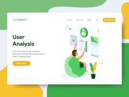 Modello della pagina di atterraggio del concetto dell'illustrazione di analisi dell'utente. Moderno concetto di design piatto di progettazione di pagine Web per sito Web e sito Web mobile. Illustrazione di vettore