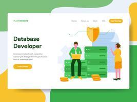 Modello di pagina di destinazione del concetto di illustrazione sviluppatore di database. Moderno concetto di design piatto di progettazione di pagine Web per sito Web e sito Web mobile. Illustrazione di vettore