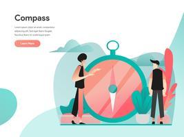 Concetto dell'illustrazione della bussola e di visione. Concetto di design piatto moderno di progettazione di pagine web per sito Web e sito Web mobile. Illustrazione di vettore 10 EPS