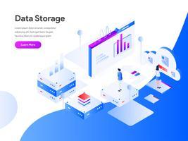 Concetto isometrico dell'illustrazione di archiviazione di dati. Concetto di design piatto moderno di progettazione di pagine web per sito Web e sito Web mobile. Illustrazione di vettore 10 EPS