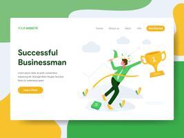 Modello di pagina di destinazione di successo Businessman Illustration Concept. Moderno concetto di design piatto di progettazione di pagine Web per sito Web e sito Web mobile. Illustrazione di vettore