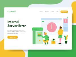 Modello di pagina di destinazione del concetto di illustrazione di errore interno del server. Moderno concetto di design piatto di progettazione di pagine Web per sito Web e sito Web mobile. Illustrazione di vettore
