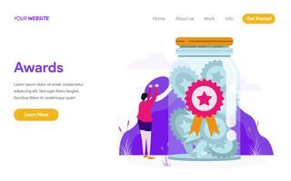 Modello della pagina di atterraggio del concetto dell'illustrazione dei premi. Concetto di design piatto moderno di progettazione di pagine Web per sito Web e sito Web mobile. Illustrazione di vettore