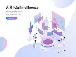 Modello di pagina di destinazione del concetto di illustrazione isometrica di intelligenza artificiale. Concetto di design piatto isometrica della progettazione di pagine Web per sito Web e sito Web mobile. Illustrazione di vettore