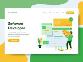 Modello di pagina di destinazione del concetto di illustrazione dello sviluppatore del software. Moderno concetto di design piatto di progettazione di pagine Web per sito Web e sito Web mobile. Illustrazione di vettore