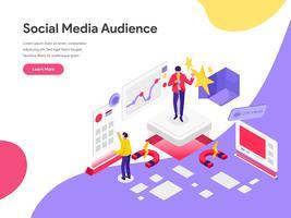 Modello della pagina di atterraggio del concetto dell'illustrazione del pubblico di media sociali della portata. Concetto di design piatto isometrica della progettazione di pagine Web per sito Web e sito Web mobile. Illustrazione di vettore