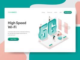 Modello di pagina di destinazione del concetto di illustrazione Wi-Fi ad alta velocità. Concetto di design isometrico di progettazione di pagine Web per sito Web e sito Web mobile. Illustrazione di vettore