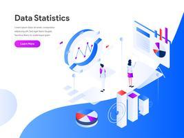 Concetto isometrico dell'illustrazione di statistiche di dati. Concetto di design piatto moderno di progettazione di pagine web per sito Web e sito Web mobile. Illustrazione di vettore 10 EPS