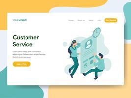Modello della pagina di atterraggio del concetto dell'illustrazione di servizio di assistenza al cliente. Moderno concetto di design piatto di progettazione di pagine Web per sito Web e sito Web mobile. Illustrazione di vettore