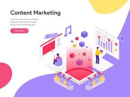 Modello di pagina di destinazione del concetto di illustrazione di marketing contenuto. Concetto di design piatto isometrica della progettazione di pagine Web per sito Web e sito Web mobile. Illustrazione di vettore