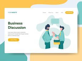 Modello della pagina di atterraggio del concetto dell'illustrazione di discussione di affari. Moderno concetto di design piatto di progettazione di pagine Web per sito Web e sito Web mobile. Illustrazione di vettore