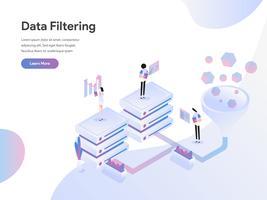 Modello di pagina di destinazione del concetto di illustrazione isometrica di filtraggio dei dati. Concetto di design piatto di progettazione di pagine Web per sito Web e sito Web mobile. Illustrazione di vettore