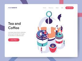 Modello di pagina di destinazione del concetto di illustrazione di tè e caffè. Concetto di design piatto isometrica della progettazione di pagine Web per sito Web e sito Web mobile. Illustrazione di vettore ENV 10