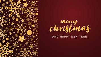 Il lusso della cartolina d'auguri del buon anno e di Buon Natale in carta taglia il fondo di stile. Illustrazione vettoriale Celebrazione di Natale con decorazioni per banner, flyer, poster, carta da parati, modello.
