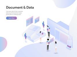 Modello di pagina di destinazione del concetto di illustrazione di documenti e dati. Concetto di design piatto di progettazione di pagine Web per sito Web e sito Web mobile. Illustrazione di vettore