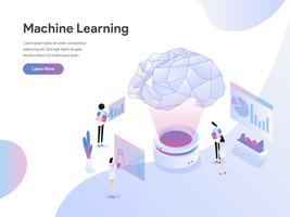 Modello di pagina di destinazione del concetto di Machine Learning Illustration. Concetto di design piatto di progettazione di pagine Web per sito Web e sito Web mobile. Illustrazione di vettore