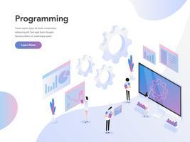 Modello di pagina di destinazione del concetto di illustrazione isometrica di programmazione del computer. Moderno concetto di design piatto di progettazione di pagine Web per sito Web e sito Web mobile. Illustrazione di vettore