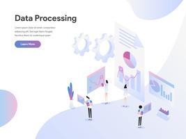 Modello di pagina di destinazione del concetto di illustrazione isometrica di elaborazione dei dati. Moderno concetto di design piatto di progettazione di pagine Web per sito Web e sito Web mobile. Illustrazione di vettore