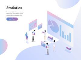 Modello della pagina di atterraggio del concetto dell'illustrazione isometrica di statistiche di dati. Moderno concetto di design piatto di progettazione di pagine Web per sito Web e sito Web mobile. Illustrazione di vettore