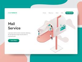 Modello della pagina di atterraggio del concetto dell'illustrazione di servizio della posta. Concetto di design isometrico di progettazione di pagine Web per sito Web e sito Web mobile. Illustrazione di vettore