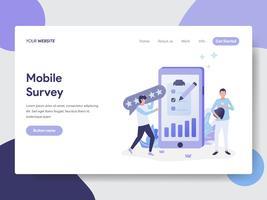 Modello della pagina di atterraggio di Moile Survey Illustration Concept. Concetto di design piatto moderno di progettazione di pagine Web per sito Web e sito Web mobile. Illustrazione di vettore