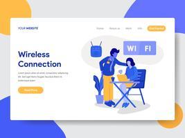 Modello di pagina di destinazione di connessione wireless e concetto di illustrazione WiFi. Concetto di design piatto moderno di progettazione di pagine Web per sito Web e sito Web mobile. Illustrazione di vettore