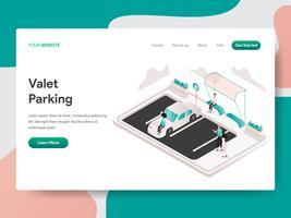 Modello della pagina di atterraggio di concetto dell'illustrazione di parcheggio di Valet. Concetto di design isometrico di progettazione di pagine Web per sito Web e sito Web mobile. Illustrazione di vettore
