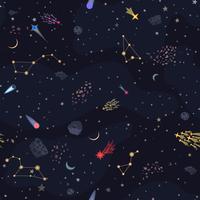 Backround cielo notturno senza soluzione di continuità con stelle luminose. Illustrazione di stile piano vettoriale