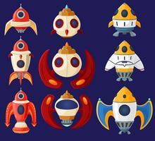 Set di astronavi e razzi di vettore del fumetto