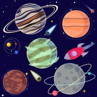 Set di pianeti del fumetto e elementi spaziali. Illustrazione vettoriale