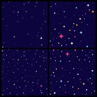 Insieme del backround del cielo notturno con le stelle luminose, illustrazione piana di vettore di stile