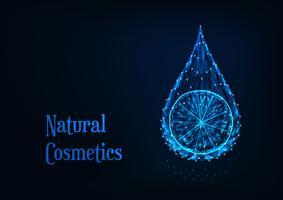 Goccia di olio essenziale poligonale incandescente futuristico con fetta di limone su sfondo blu scuro.