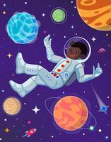 Astronauta allo spazio aperto fluttuante nell'antigravità. Illustrazione di cartone animato vettoriale