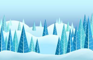 Vector il paesaggio orizzontale dell'inverno con le colline ricoperte neve e gli alberi di conifere del triangolo. Illustrazione di cartone animato
